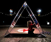 Zippos's Circus at Victoria Park - Glasgow - Anya Stefanyuk prepares the triangular aparatus she uses for her juggling routine - picture by Donald MacLeod - 27.6.12 - 07702 319 738 - clanmacleod@btinternet.com - www.donald-macleod.com