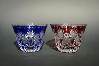 Edokiriko sake glasses. Shimizu Glass, Tokyo, Japan, January 14, 2015. Edokiriko is a style of cut glass that dates back to 1834 and is similar to British cut glass. It makes use coloured glass and highly-intricate Japanese motifs.