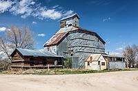 Abandoned grain office building in Simla, CO
