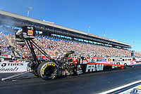 Oct. 27, 2012; Las Vegas, NV, USA: NHRA top fuel driver Spencer Massey during qualifying for the Big O Tires Nationals at The Strip in Las Vegas. Mandatory Credit: Mark J. Rebilas-