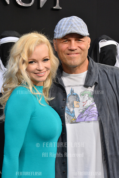 """LOS ANGELES, CA. September 04, 2018: Randy Couture & Mindy Robinson at the world premiere of """"The Nun"""" at the TCL Chinese Theatre, Hollywood."""