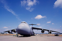 US Air Force Lockheed C-5 Galaxy Military Cargo Transport Aircraft on Static Display - at Abbotsford International Airshow, BC, British Columbia, Canada