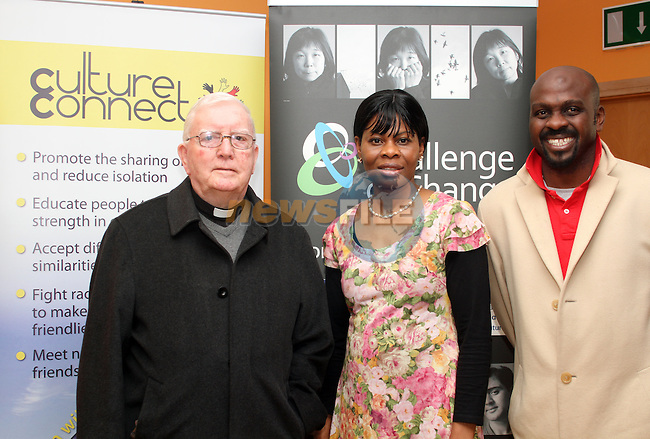 Fr Ryan, Flora Okobi and Ade Mokun at the Culture Connect Day in The Barbican...(Photo credit should read Jenny Matthews www.newsfile.ie)....This Picture has been sent you under the conditions enclosed by:.Newsfile Ltd..The Studio,.Millmount Abbey,.Drogheda,.Co Meath..Ireland..Tel: +353(0)41-9871240.Fax: +353(0)41-9871260.GSM: +353(0)86-2500958.email: pictures@newsfile.ie.www.newsfile.ie.
