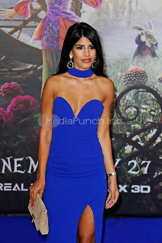 LONDON, ENGLAND - MAY 10: Jasmin Walia attending the 'Alice Through The Looking Glass' European Premiere at Odeon Cinema, Leicester Square in London. on May 10, 2016 in London, England.<br /> CAP/MAR<br /> &copy; Martin Harris/Capital Pictures /MediaPunch ***NORTH AND SOUTH AMERICA ONLY***