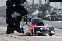Apr. 26, 2013; Baytown, TX, USA: NHRA funny car driver Blake Alexander during qualifying for the Spring Nationals at Royal Purple Raceway. Mandatory Credit: Mark J. Rebilas-