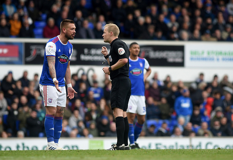 Ipswich Town's Luke Chambers talks to Referee Gavin Ward<br /> <br /> Photographer Hannah Fountain/CameraSport<br /> <br /> The EFL Sky Bet Championship - Ipswich Town v Leeds United - Sunday 5th May 2019 - Portman Road - Ipswich<br /> <br /> World Copyright © 2019 CameraSport. All rights reserved. 43 Linden Ave. Countesthorpe. Leicester. England. LE8 5PG - Tel: +44 (0) 116 277 4147 - admin@camerasport.com - www.camerasport.com