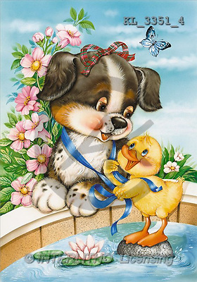 Interlitho, Michele, CUTE ANIMALS, paintings, dog, duck, water(KL3351/4,#AC#) illustrations, pinturas ,everyday