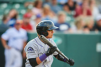 Javier Guevara (6) of the Grand Junction Rockies squares to bunt against the Ogden Raptors at Lindquist Field on July 25, 2018 in Ogden, Utah. The Rockies defeated the Raptors 4-0. (Stephen Smith/Four Seam Images)
