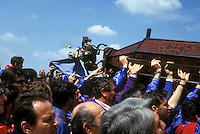 "Gubbio 15 MAY 2004..Festival of the Ceri..The raising, ""Alzata"" of the Ceri  the morning..The Cero of St George ....http://www.ceri.it/ceri_eng/index.htm.."