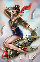 Retro pin-up girl astride World War Two fighter plane