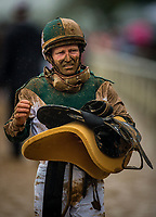LEXINGTON, KY - OCTOBER 08: James Graham walks back to the jockey's room after riding inThe Juddmonte Spinster Stakes at Keeneland Race Course on October 08, 2017 in Lexington, Kentucky. (Photo by Alex Evers/Eclipse Sportswire/Getty Images)