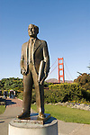 San Francisco, California, Golden Gate Bridge, sculpture of Joseph Strauss, Bridge Builder. Photo copyright Lee Foster.  Photo # 1-casanf76327.