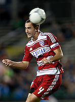 Santa Clara, California - Saturday July 18, 2012: FC Dallas' Andrew Jacobson heads the ball during a game against San Jose Earthquakes at Buck Shaw Stadium, Stanford, Ca   San Jose Earthquakes defeated FC Dallas 2 - 1.