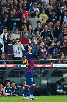 29th October 2019; Camp Nou, Barcelona, Catalonia, Spain; La Liga Football, Barcelona versus Real Valladolid; 10 Lionel Messi celebrates his goal in the 34th minute for 3-1 - Editorial Use
