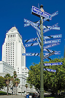 Los Angeles Ca, Downtown, City Hall, Sister Cities,  International City, Distance, Sign Post