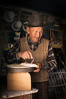 Artisan Hat maker in the town of Maras, Making the renowned Sombreros, Sacred Valley of the Incas, Cusco Region, Peru, South America