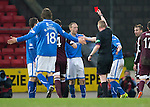 St Johnstone v Hearts.....18.01.14   SPFL<br /> Steven Anderson is sent off by ref Brian Colvin<br /> Picture by Graeme Hart.<br /> Copyright Perthshire Picture Agency<br /> Tel: 01738 623350  Mobile: 07990 594431