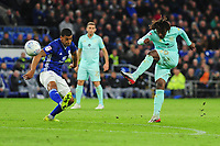 Eberechi Eze of Queens Park Rangers has a shot during the Sky Bet Championship match between Cardiff City and Queens Park Rangers at the Cardiff City Stadium in Cardiff, Wales, UK. Wednesday 02 October, 2019