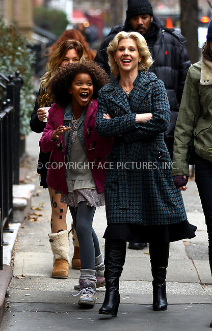 WWW.ACEPIXS.COM<br /> <br /> December 4 2013, New York City<br /> <br /> Actors Quvenzhan&eacute; Wallis (L) and Stephanie Kurtzuba were on the set of the new movie 'Annie' on December 4 2013 in New York City<br /> <br /> By Line: Zelig Shaul/ACE Pictures<br /> <br /> <br /> ACE Pictures, Inc.<br /> tel: 646 769 0430<br /> Email: info@acepixs.com<br /> www.acepixs.com