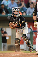 South Bend Silver Hawks catcher B.J. Lopez (26) checks the runner during a game against the Lansing Lugnuts on June 6, 2014 at Cooley Law School Stadium in Lansing, Michigan.  South Bend defeated Lansing 13-5.  (Mike Janes/Four Seam Images)