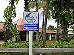 Tsunami evacuation route sign. Ao Nang beach. Krabi, Thailand