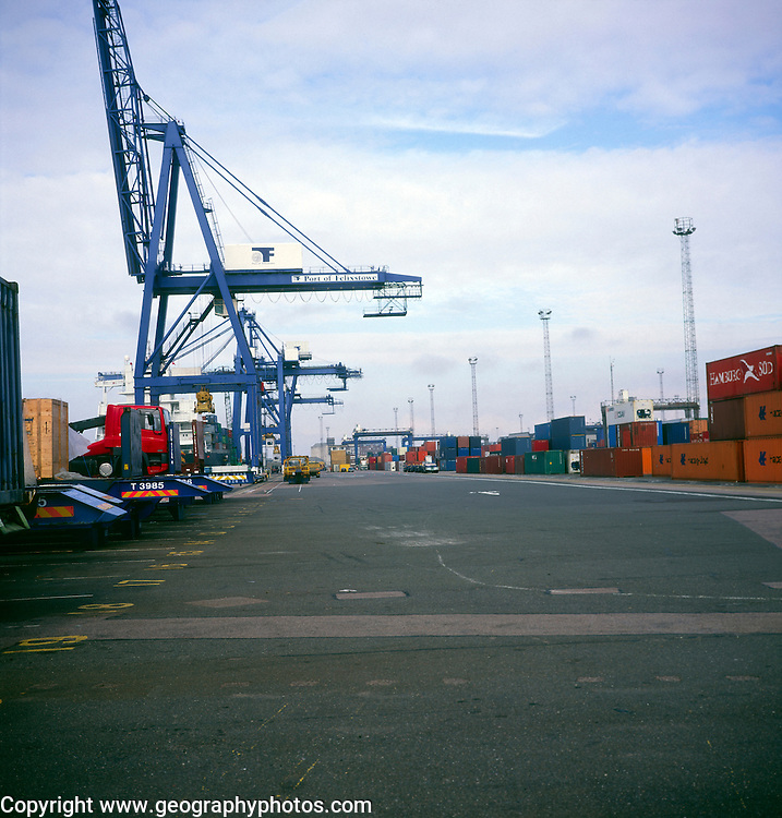 Cranes and containers at the Port of Felixstowe, Suffolk, England