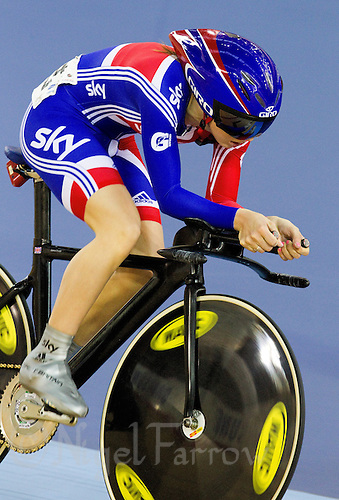 19 FEB 2012 - LONDON, GBR - Great Britain's Laura Trott (GBR) gives chase during the Individual Pursuit round of the Women's Omnium at the UCI Track Cycling World Cup, and London Prepares test event for the 2012 Olympic Games, in the Olympic Park Velodrome in Stratford, London, Great Britain (PHOTO (C) 2012 NIGEL FARROW)