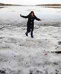 Ginny Christensen, seen enjoying the Lighthouse trail in Saugerties, NY, on Friday, December 23, 2016. Photo by Jim Peppler; Copyright Jim Peppler 2016.