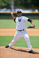 GCL Yankees East relief pitcher Jairo Garcia (32) delivers a pitch during a game against the GCL Blue Jays on August 2, 2018 at Yankee Complex in Tampa, Florida.  GCL Yankees East defeated GCL Blue Jays 5-4.  (Mike Janes/Four Seam Images)