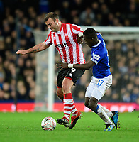 Lincoln City's Matt Rhead vies for possession with Everton's Idrissa Gueye<br /> <br /> Photographer Chris Vaughan/CameraSport<br /> <br /> Emirates FA Cup Third Round - Everton v Lincoln City - Saturday 5th January 2019 - Goodison Park - Liverpool<br />  <br /> World Copyright &copy; 2019 CameraSport. All rights reserved. 43 Linden Ave. Countesthorpe. Leicester. England. LE8 5PG - Tel: +44 (0) 116 277 4147 - admin@camerasport.com - www.camerasport.com