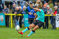 Tommy Matthews of Nottingham Rugby kicks during the Greene King IPA Championship match between Ampthill RUFC and Nottingham Rugby on Ampthill Rugby's Championship Debut at Dillingham Park, Woburn St, Ampthill, Bedford MK45 2HX, United Kingdom on 12 October 2019. Photo by David Horn.