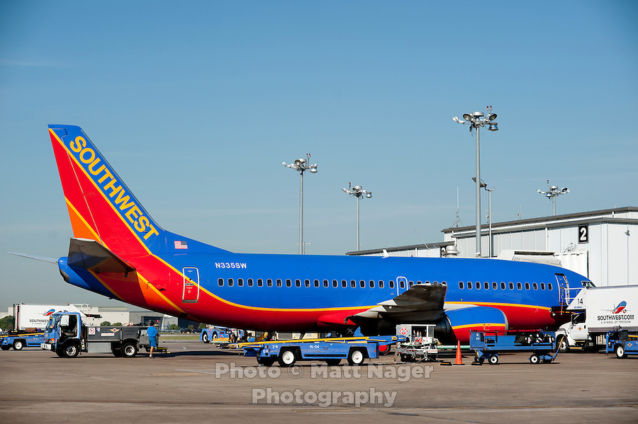 A Southwest Airlines plane at Love Field Airport in Dallas, Texas, Wednesday, October 27, 2010...PHOTO/ MATT NAGER