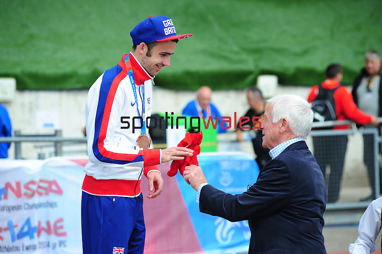 IPC European Athletics Championship 2014<br /> Swansea University<br /> <br /> Medal ceremony: Men's 1500m T38.  <br /> Gold medal: Michael McKillop (IRL)<br /> Silver medal: Louis Radius (FRA)<br /> Bronze medal - Dean Miller (GBR)<br /> <br /> 23.08.14<br /> Chris Vaughan-SPORTINGWALES
