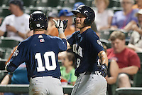 New Orleans Zephyrs catcher Cole Armstrong #9 greets teammate Chase Lambin #10 after his home run during the Pacific Coast League baseball game against the Round Rock Express on April 30, 2012 at The Dell Diamond in Round Rock, Texas. The Zephyrs defeated the Express 5-3. (Andrew Woolley / Four Seam Images)