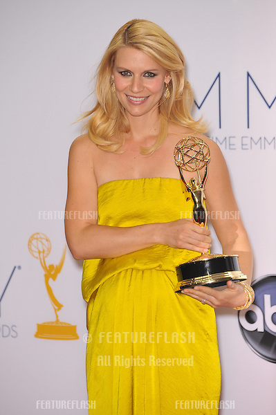 Claire Danes at the 64th Primetime Emmy Awards at the Nokia Theatre LA Live..September 23, 2012  Los Angeles, CA.Picture: Paul Smith / Featureflash