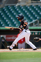 Jupiter Hammerheads second baseman Luis Pintor (3) squares around to bunt during a game against the Palm Beach Cardinals on August 5, 2018 at Roger Dean Chevrolet Stadium in Jupiter, Florida.  Jupiter defeated Palm Beach 3-0.  (Mike Janes/Four Seam Images)