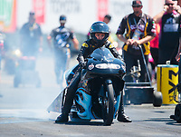 Jul 27, 2019; Sonoma, CA, USA; NHRA pro stock motorcycle rider Jianna Salinas during qualifying for the Sonoma Nationals at Sonoma Raceway. Mandatory Credit: Mark J. Rebilas-USA TODAY Sports