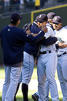September 28, 2008: Free agent to be, Seattle Mariners' Raul Ibanez hugs teammates after the final game of the season.