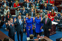 TALLAHASSEE, FLA. Rep. Clay Yarborough, R-Jacksonville, left, Rep. Cord Byrd, R-Neptune Beach, Rep. Kimberly Daniels, D-Jacksonville, Rep. Tracie Davis, D-Jacksonville, and Rep. Jason Fischer, R-Jacksonville take the oath of office from Judge Nicholas Thompson.<br /> <br /> <br />  in Tallahassee.<br /> <br /> COLIN HACKLEY PHOTO