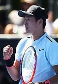 8th January 2018, ASB Tennis Centre, Auckland, New Zealand; ASB Classic, ATP Mens Tennis;  Yibing Wu (CHN) during the ASB Classic ATP Men's Tournament Day 1