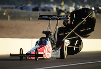 Oct. 27, 2012; Las Vegas, NV, USA: NHRA top fuel driver Doug Kalitta during qualifying for the Big O Tires Nationals at The Strip in Las Vegas. Mandatory Credit: Mark J. Rebilas-