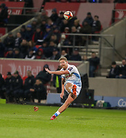 7th February 2020; AJ Bell Stadium, Salford, Lancashire, England; Premiership Cup Rugby, Sale Sharks versus Saracens; Rob du Preez of Sale Sharks converts try number 2 for Sale to make it 14-0