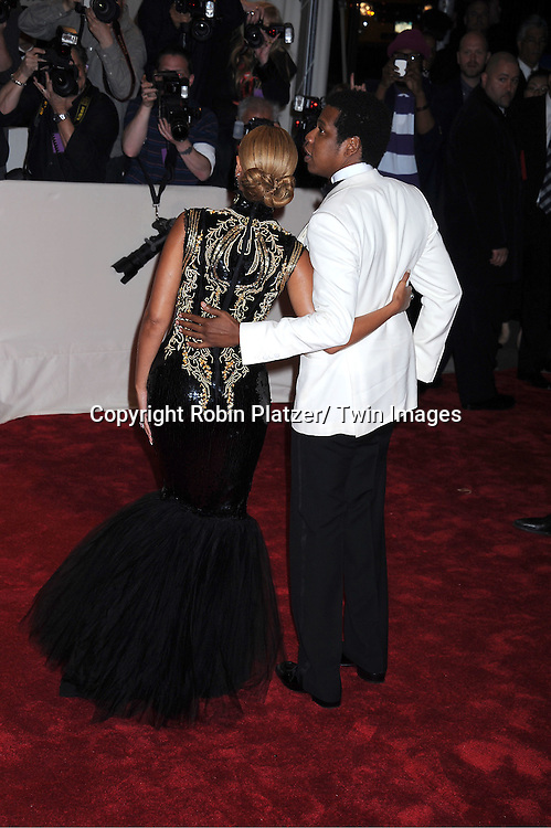 """Jay Z and wife Beyonce arriving at The Costume Institute Gala Benefit celebriting """"Alexander McQueen: Savage Beauty"""" at The Metropolitan Museum of Art in New York City on May 2, 2011."""