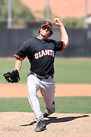 Mike Kickham #43 of the San Francisco Giants plays in a minor league spring training game against the Chicago Cubs at the Cubs minor league complex on March 29, 2011  in Mesa, Arizona. .Photo by:  Bill Mitchell/Four Seam Images.