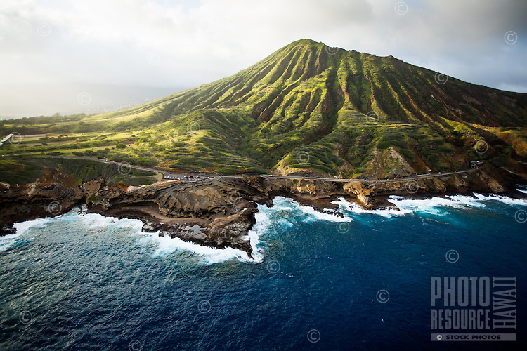 An aerial view of Koko Crater before sunset, with a lookout in the foreground and the Koko Head Rifle Range to the left, Hawai'i Kai, O'ahu.