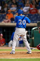 Dunedin Blue Jays first baseman Bradley Jones (20) at bat during a game against the Clearwater Threshers on April 6, 2018 at Spectrum Field in Clearwater, Florida.  Clearwater defeated Dunedin 8-0.  (Mike Janes/Four Seam Images)