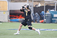 Washington, DC - February 23, 2019: Towson Tigers Brody McLean (7) scores a goal during game between Towson and Georgetown at  Cooper Field in Washington, DC.   (Photo by Elliott Brown/Media Images International)