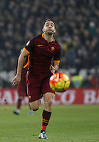 Roma's Kostas Manolas runs for the ball during the Italian Serie A football match between Juventus and Roma at Juventus Stadium.