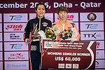 Ying Han of Germany (l) and Yuling Zhu of China (r) during the prize ceremony of Women's Singles Final match during the Seamaster Qatar 2016 ITTF World Tour Grand Finals at the Ali Bin Hamad Al Attiya Arena on 11 December 2016, in Doha, Qatar. Photo by Victor Fraile / Power Sport Images