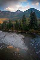 Kaleetan Peak Dusk, Middle Fork of the Snoqualmie River, Mt. Baker Snoqualmie National Forest, Washington, US